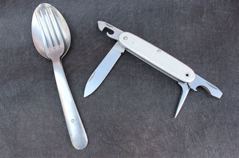 swiss army knife with fork and spoon 1976 victorinox soldier wengerinox fork spoon set