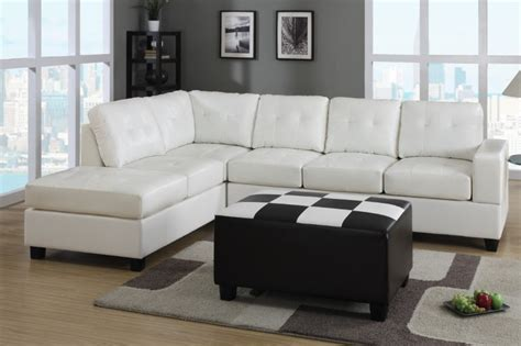 Sectional Sofa In Living Room White Color Modern Leather Sectional Sleeper Sofa Bed With Wooden Legs In Living Room With Black