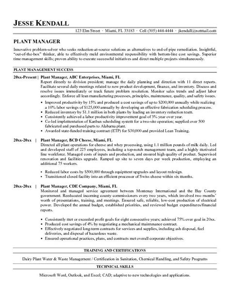 Plant Superintendent Sle Resume by Plant Manager Resume Exles The Best Letter Sle