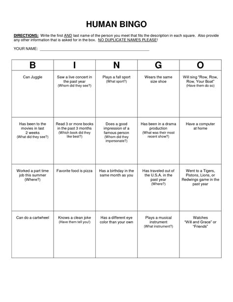 Scavenger Hunt Card Templates by Human Bingo Scavenger Hunt Template Classroom