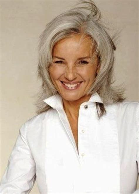 med lenght hair pic salt peper color women with gray hair 2015 best medium length haircuts