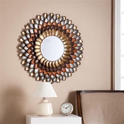 mirror decorations southern enterprises albion round decorative mirror in