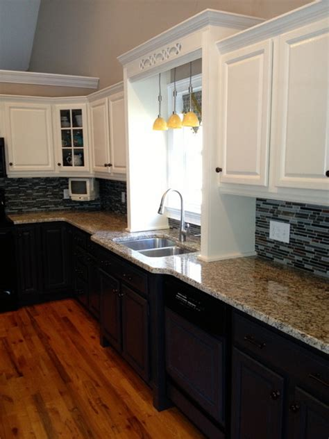 Two tone kitchen with new back splash and countertops. Originally golden oak and