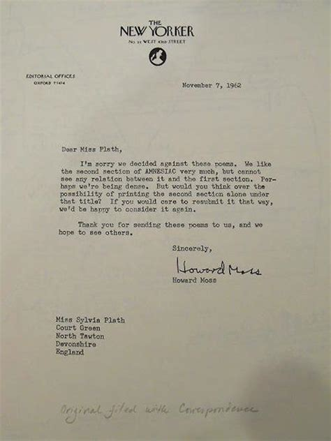 Rejection Letter New Yorker Rejection Letters Sent To Andy Warhol Madonna Other Successful Designtaxi