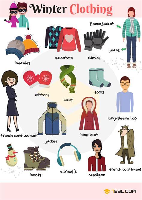 winter clothes and accessories vocabulary in 7 e s l