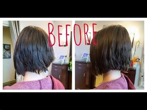 before and after haircut youtube graduated bob haircut before and after hair makeover youtube