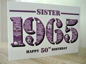 Happy 50th birthday sister card born in 1965 british facts a5