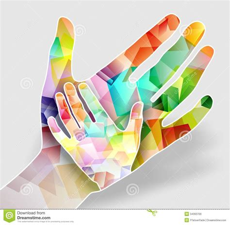design free stock photo illustration of a colorful two colorful hands stock illustration illustration of