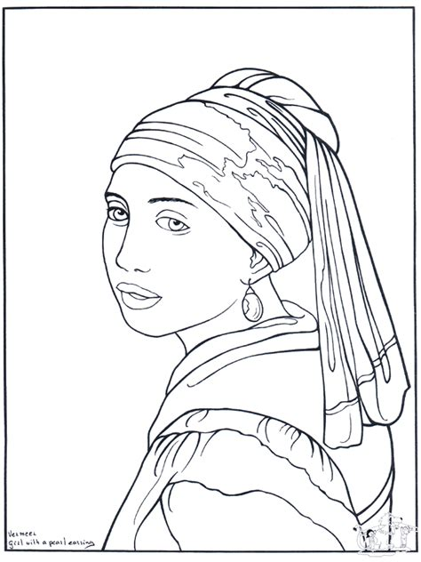 painter vermeer art coloring pages