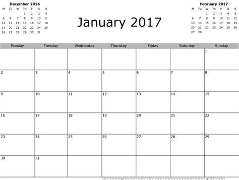 Calendar October 2017 Doc January 2017 Calendar Free Premium Templates