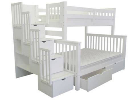 White Stairway Bunk Bed Bunk Beds Stairway White 2 Drawers Bed Drawers Bunk Bed King And Home