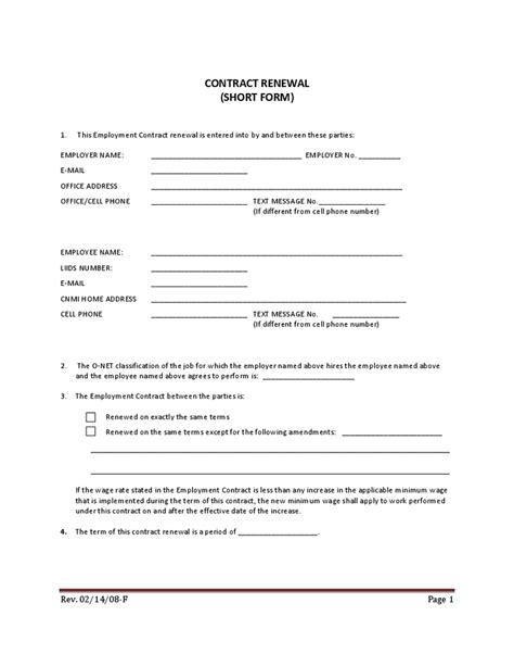 Letter Of Employee Contract Renewal Employment Contract Form Free Printable Documents
