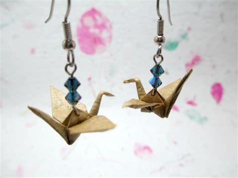 Origami Crane Jewelry - paper origami crane earrings brown earrings origami dangle