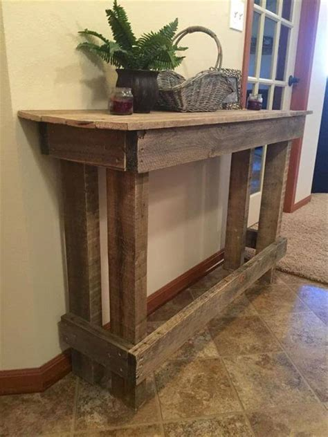 homemade sofa table diy pallet sofa table console table 101 pallets