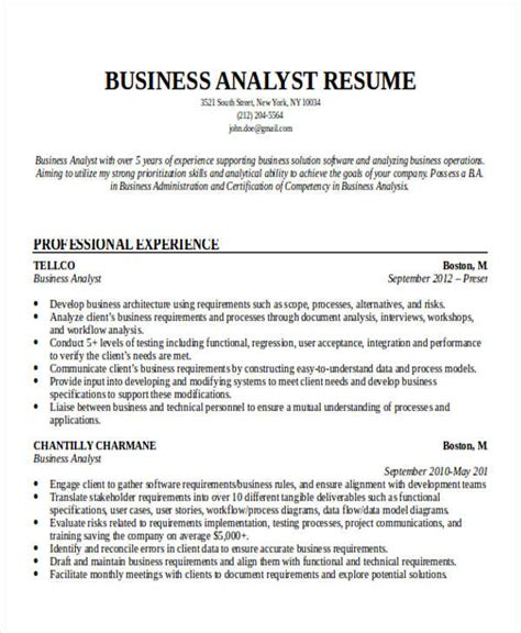 business system analyst resume sle entry level business analyst resume