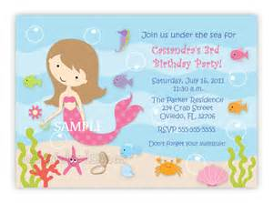 custom sweet mermaid birthday party invitation by