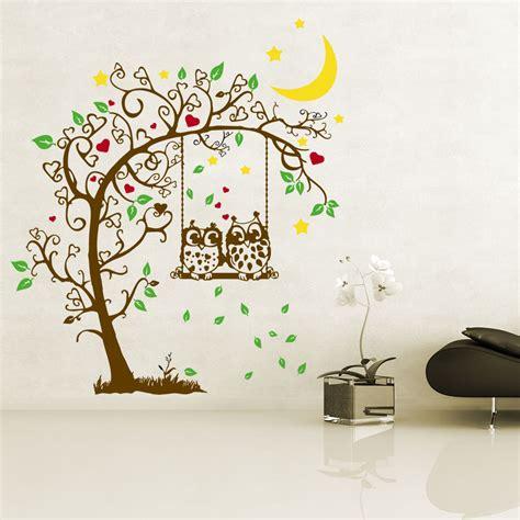 Wandtattoo Kinderzimmer Eule Baum by Wandtattoo Baum Eulen Auf Schaukel Mit Herzen Sternen Und