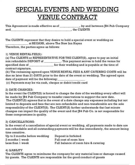 venue rental agreement template 44 contract agreement format