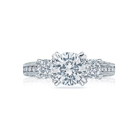 Crescent 3 diamonds engagement ring   DK Gems
