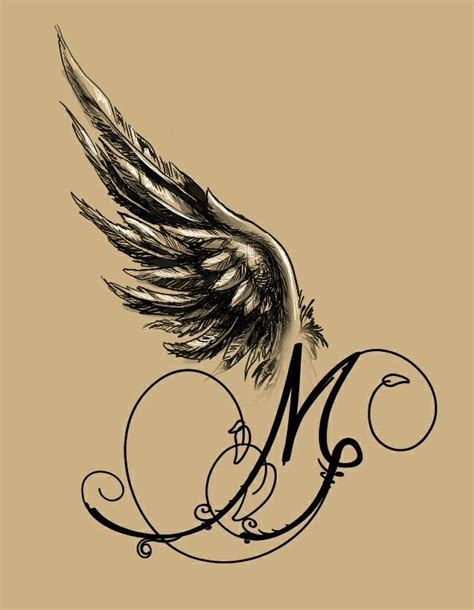 tattoo of angel wings angel winged m tattoo design my tattoo designs