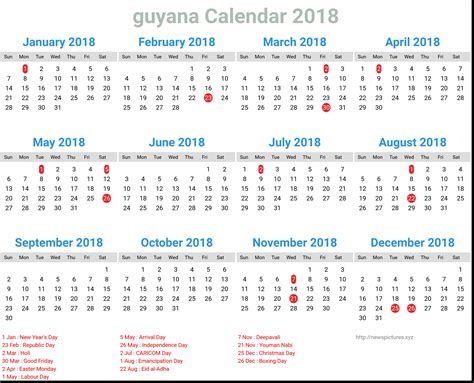 Guyana Calendã 2018 Guyana Calendar 2018 Newspicturesxyz Calendar Pro