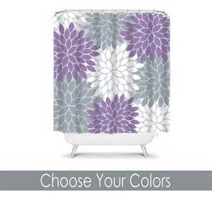items similar to purple gray shower curtain flowers custom