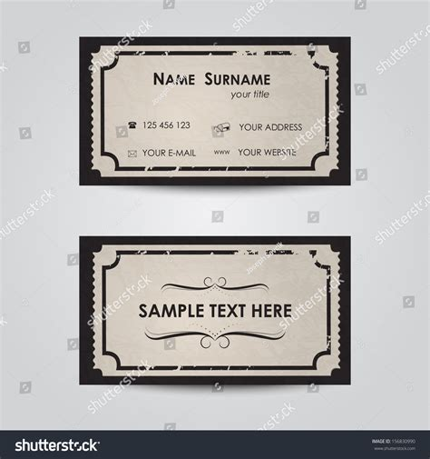 retro ticket place card template modern business card template vintage ticket stock vector