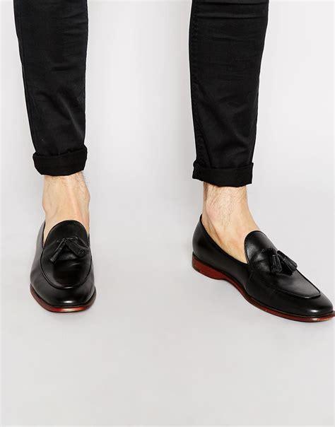 aldo shoes loafers aldo miniera leather tassel loafers in black for lyst