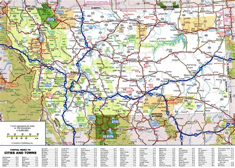 us map with cities and national parks map of montana details