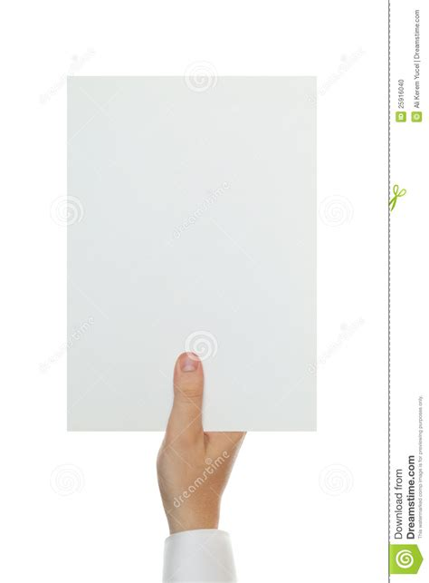 How To Make Paper Holding - holding blank a4 paper stock photo image 25916040