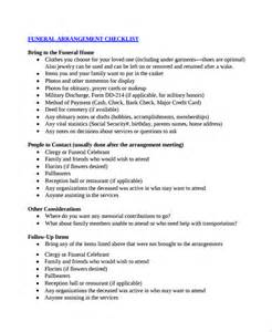 Funeral Planner Template by Sle Checklist Template 19 Free Documents In