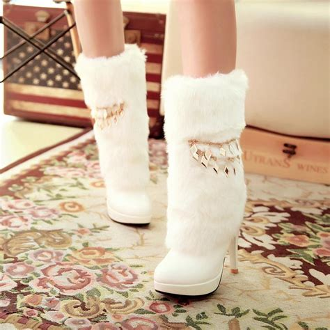 winter toe stiletto high heel slip on ankle feathers