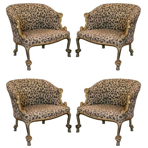 leopard bench furniture pair of gilded leopard print rope and tassel chairs at 1stdibs