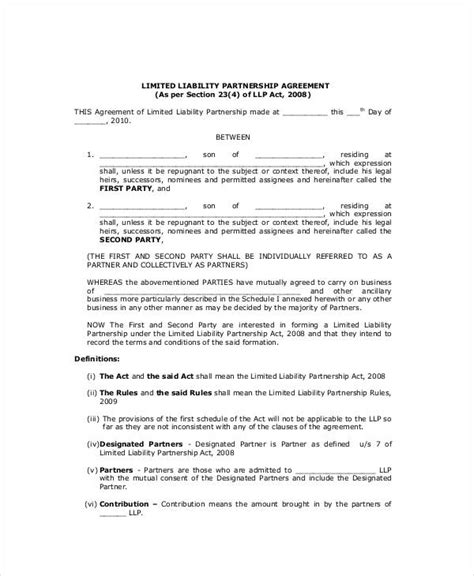 llp agreement template general partnership agreement 9 free pdf word