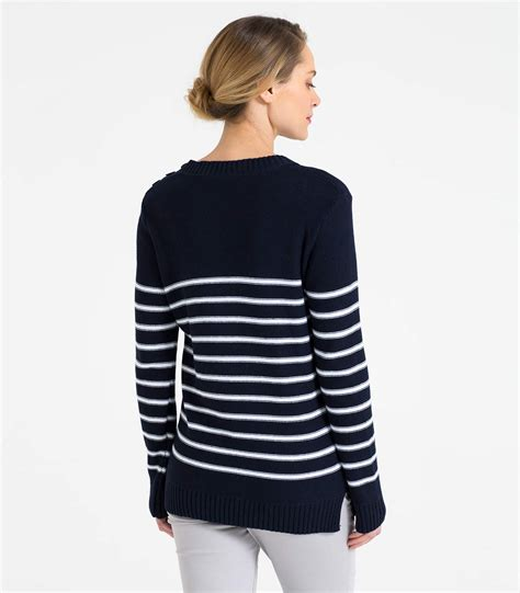 navy and white l womens 100 cotton striped button detail jumper