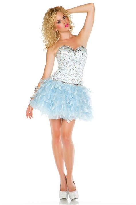 Fashion Ball Strapless Short/ Mini Light Blue Feather