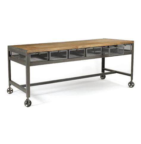 Industrial Work Desk tribeca industrial rolling steel wood work desk kathy kuo home