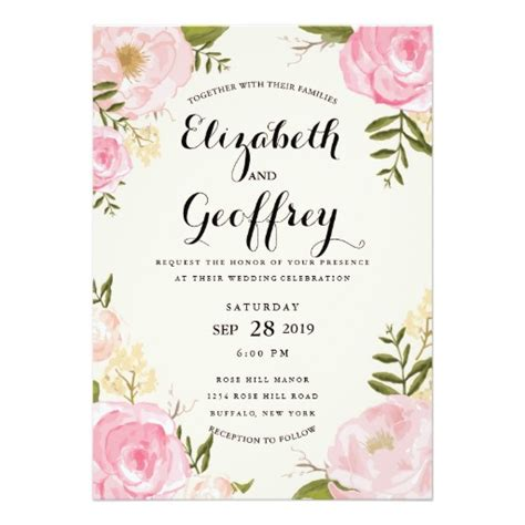 modern vintage pink floral wedding invitation card