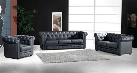 Modern Living Room Set 3 Top Grain Italian Leather Modern Living Room Set 699 Black