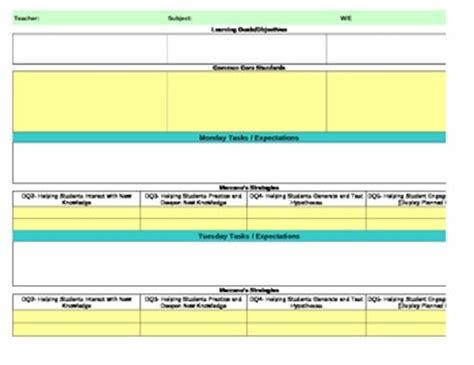 marzano lesson plan template common marzano interactive lesson plan template third
