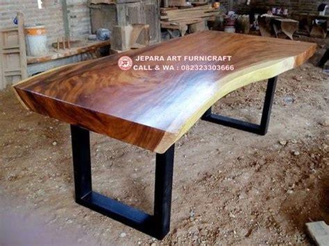 Meja Makan Kayu Trembesi terbaru meja makan alami kayu trembesi kaki besi