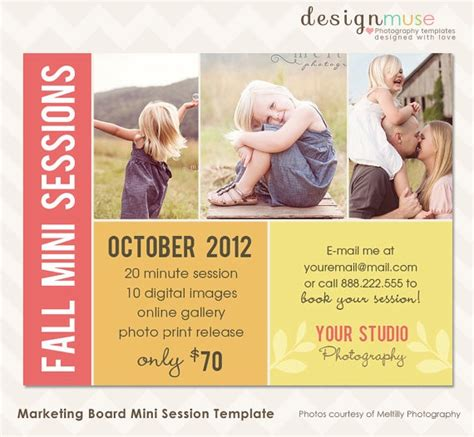 photography marketing templates fall photography marketing board template for mini