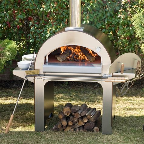 backyard wood fired pizza oven alfa forno 4 wood burning pizza oven on cart bbq guys