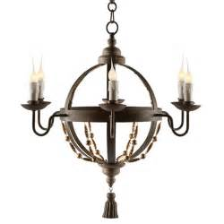 Globe Chandelier Atlas Globe Country Tassel 6 Light Chandelier