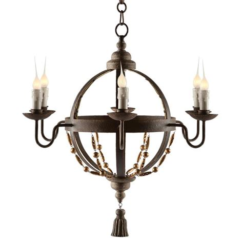 Country Chandeliers Atlas Globe Country Tassel 6 Light Chandelier Kathy Kuo Home