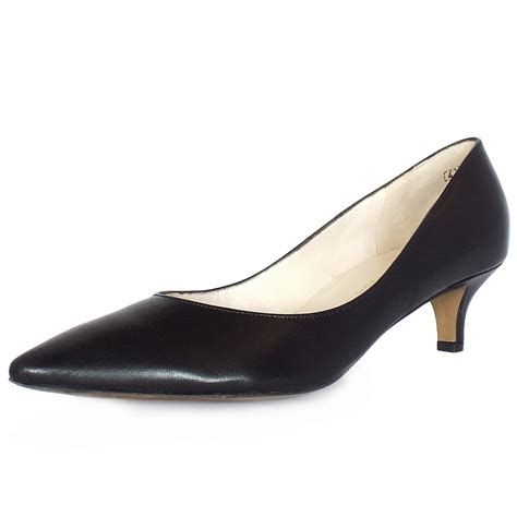 kaiser uk rona black leather pointed toe kitten