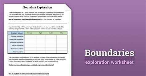 Boundaries Therapy Worksheets by Boundaries Exploration Worksheet Therapist Aid