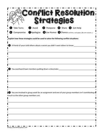 Conflict Resolution Worksheets For Adults by All Worksheets 187 Conflict Resolution Worksheets For Adults