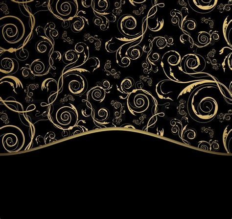 New Design Home Decoration by Decorative Black And Gold Background With Ornament Stock