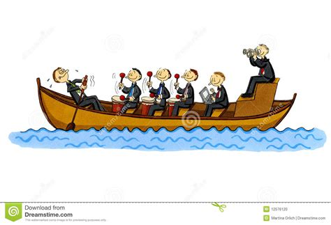 cartoon rowing boat management funny business cartoon of a row boat stock illustration